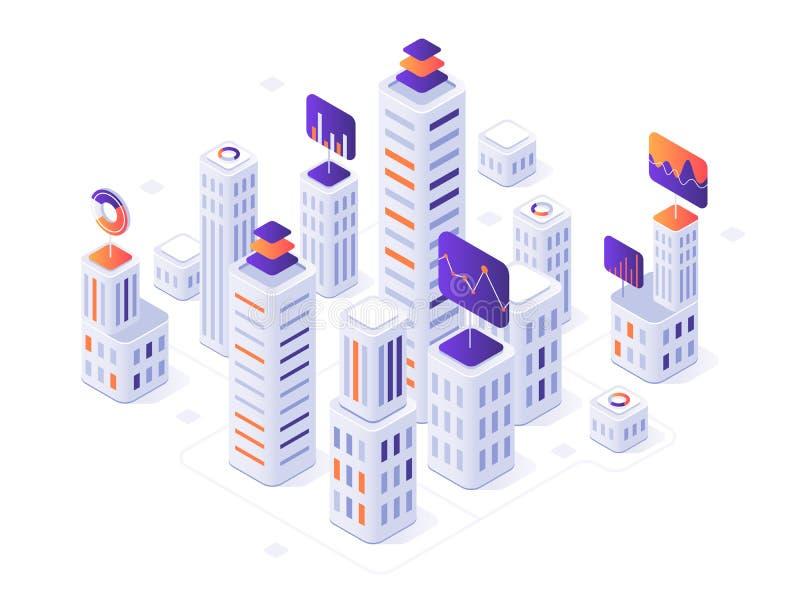 Isometrische Großstadt infographic Stadtgebäude, futuristischer städtischer und der Stadtgeschäftslokal-Bezirksmetrik 3d Vektor lizenzfreie abbildung