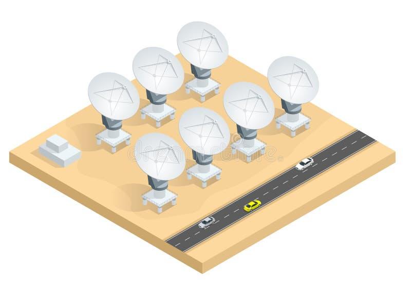 Isometrische groep radiotelescopen, de satelliettransmissie van schotelantennes royalty-vrije illustratie