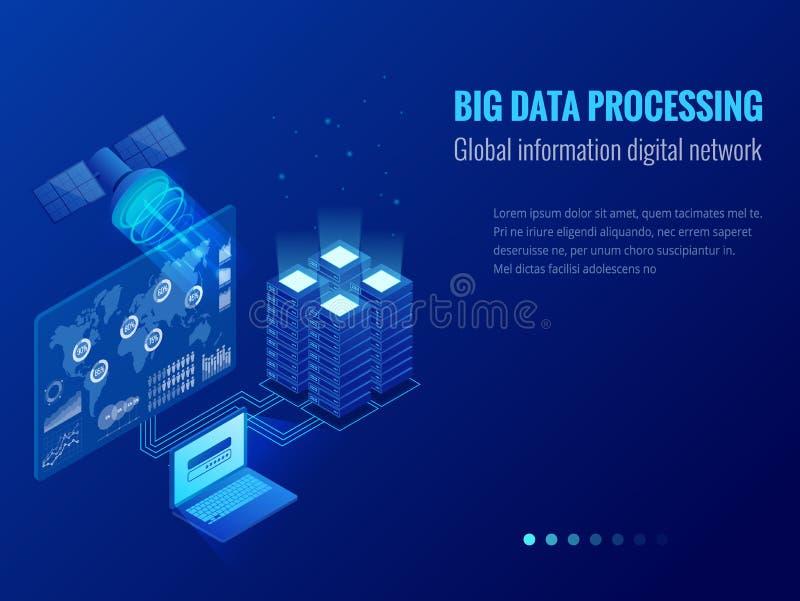 Isometrische Grote gegevens - verwerking, het Globale concept van het informatie digitale netwerk, datacenter, database, digitale stock illustratie