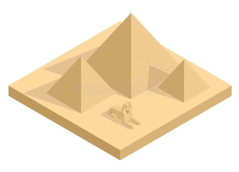Isometrische Grote Sfinx met inbegrip van piramides van Menkaure en Khafre op witte achtergrond Giza, Kaïro, Egypte egyptisch royalty-vrije illustratie