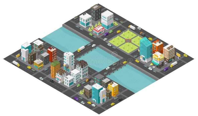 Isometrische grote stad en brug over rivier Twee Bruggen De straat van het stadsdistrict Het eindgebouwen van het auto'sverkeer C stock illustratie