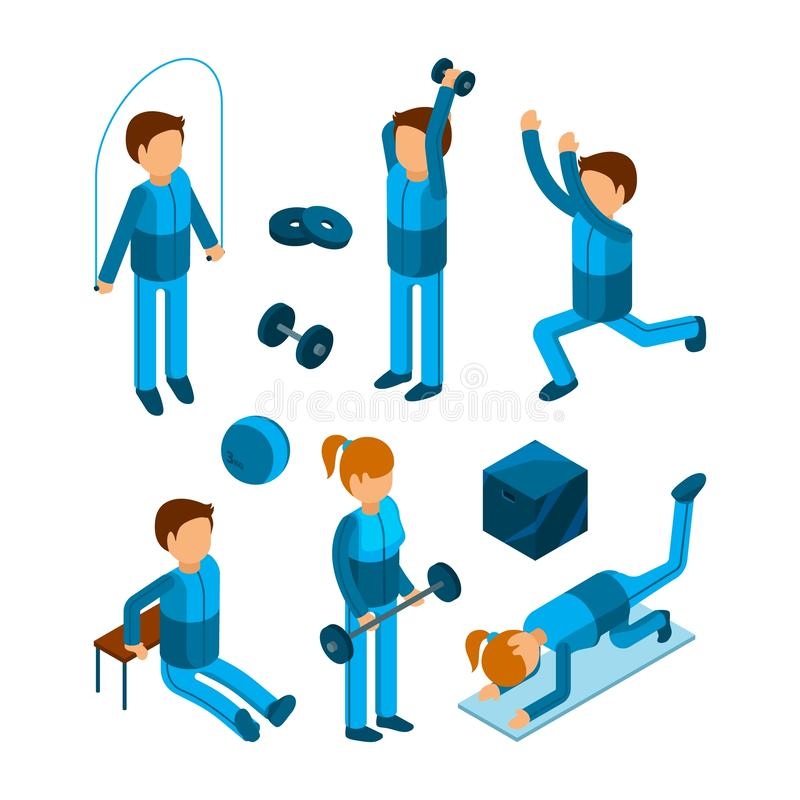 Isometrische gymnastiekmensen Fitness de training van sportkarakters oefent van de lichaamspomp en sterkte vector 3d lage polymod stock illustratie