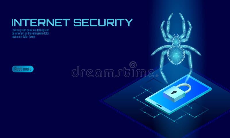 Isometrische Hacker-Angriffsgefahr der Spinne 3D Netzsicherheitsvirusdatensicherheits-Antiviruskonzept Smartphone-Verschlussdesig lizenzfreie abbildung