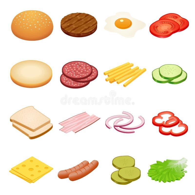Isometrische hamburger Hamburgeringrediënten op witte achtergronden Ingrediënten voor burgers en sandwiches Gebraden ei, uien vector illustratie