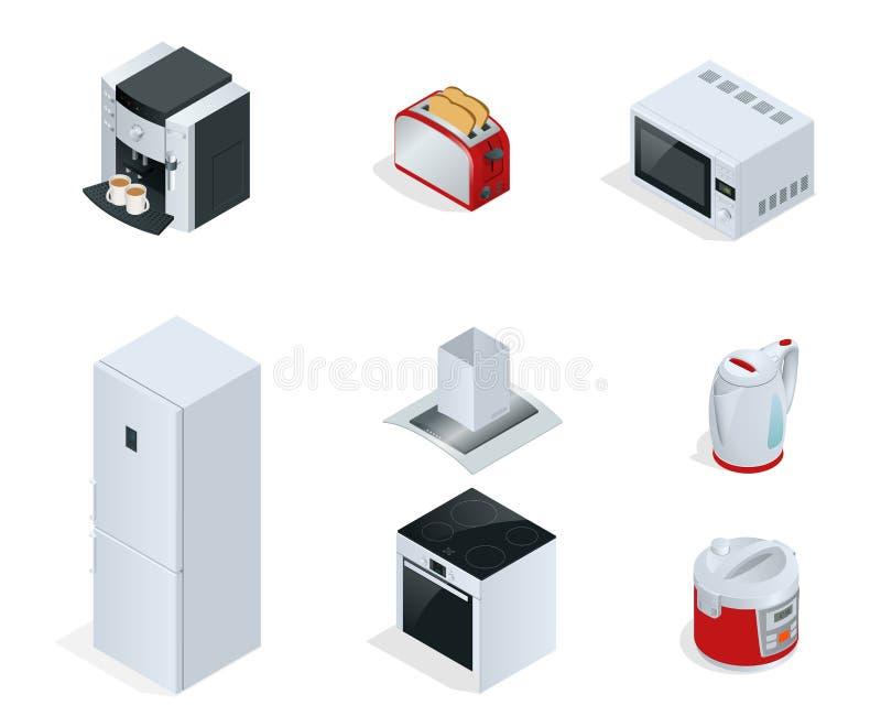 Isometrische Haushaltsgeräte Satz der Haushaltsküchentechniken Kaffeemaschine, Toaster, Mikrowelle, Kessel lizenzfreie abbildung