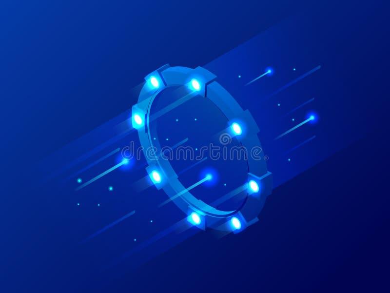 Isometrische heldere grens, het magische poort, lichtgevende wervelen, elegante gloeiende cirkel, ruimtetunnel vectorillustratie vector illustratie