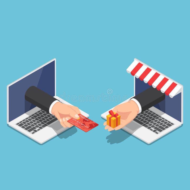 Isometrische het gebruikscreditcard van de zakenmanhand aan online het winkelen stock illustratie