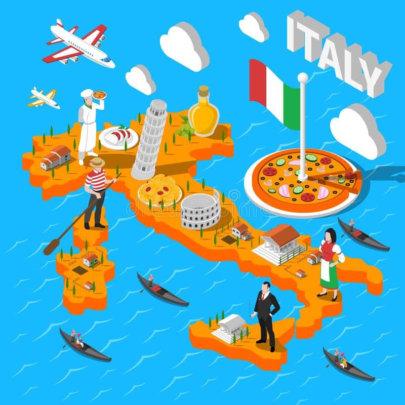 Isometrische het Sightseeingskaart van Italië voor Toeristen stock illustratie