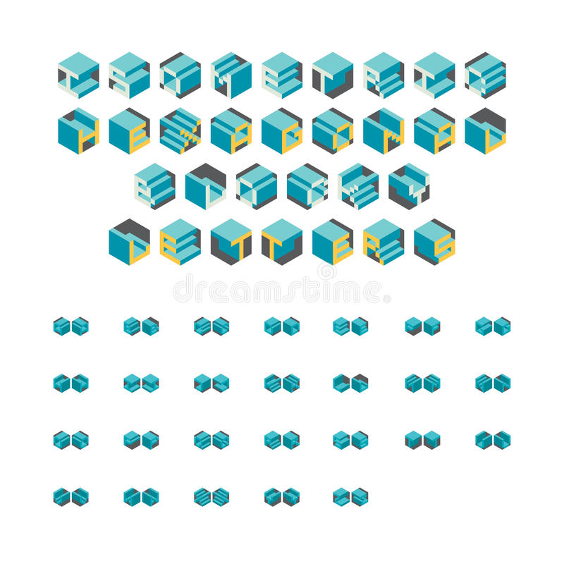 Isometrische Hexagonale Blocky-Brieven stock illustratie