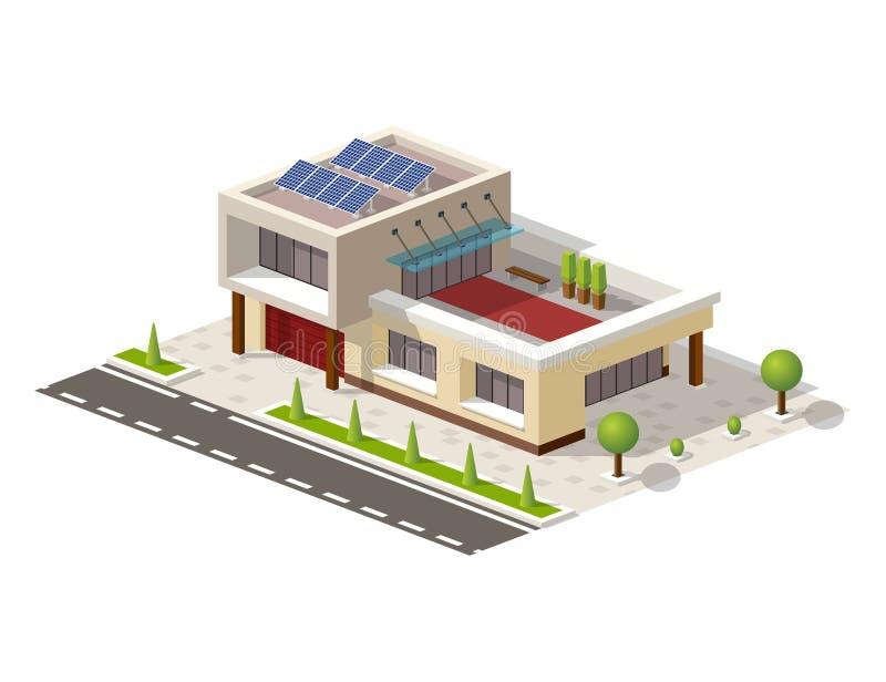 Isometrische High-tech huis vectorillustratie royalty-vrije illustratie
