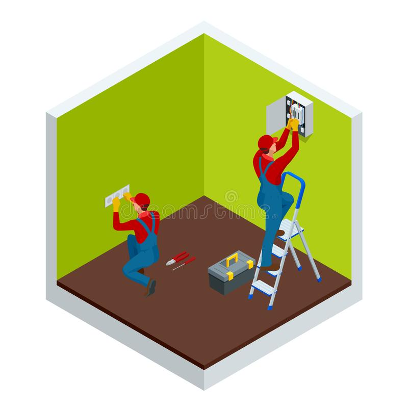 Isometrische hoofdelektricien aan het werk dichtbij de plaat met een meerderheid van draden Reparaties in het huis of de flat, be stock illustratie
