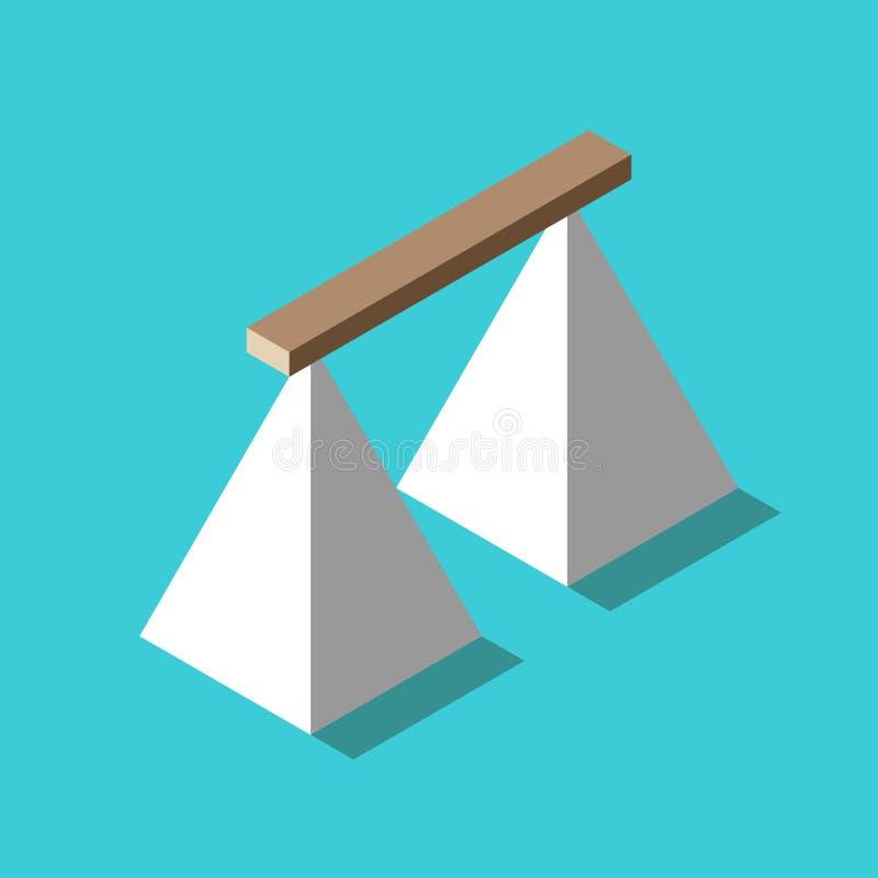 Isometrische houten plankbrug die twee witte piramides op turkoois blauw verbinden Risico, verbindings, uitdagings en moedconcept stock illustratie