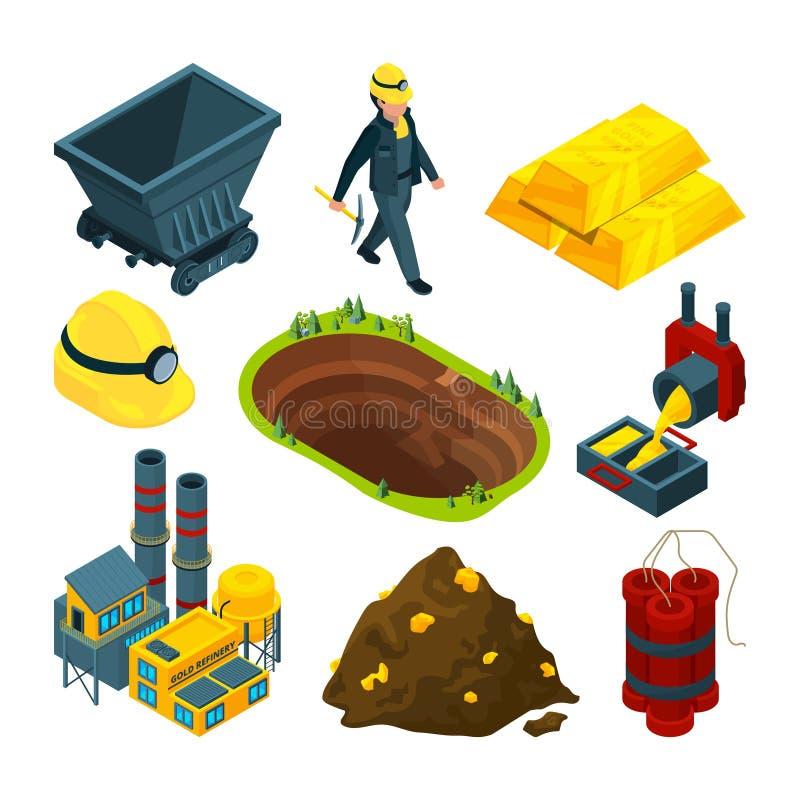 Isometrische hulpmiddelen voor mijnbouw stock illustratie