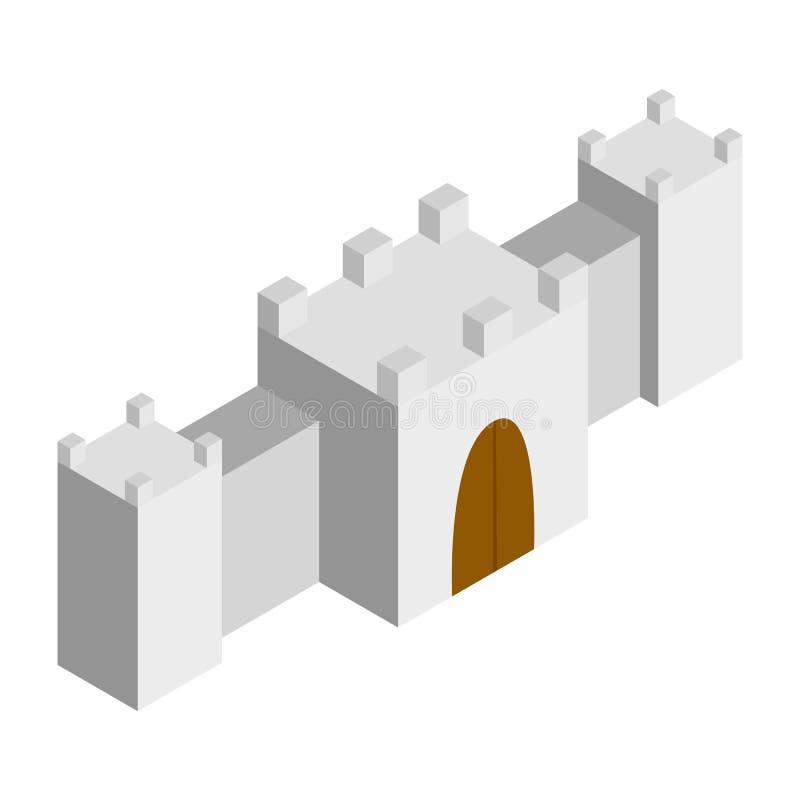 Isometrische Ikone 3d der Festung stock abbildung