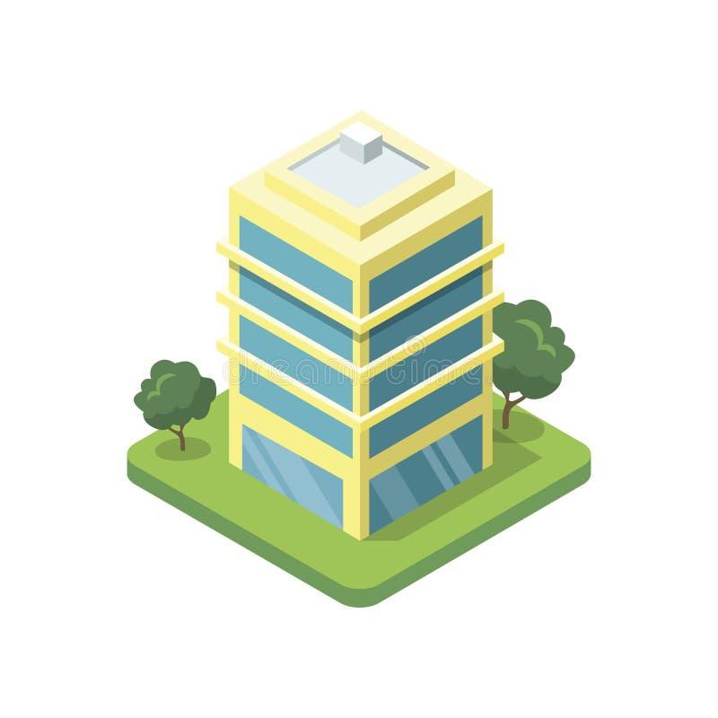 Isometrische Ikone 3D des Bürogebäudes vektor abbildung