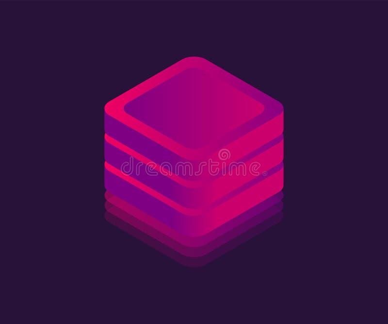 Isometrische Ikone der gro?en NeonDatenspeicherung Abstrakter W?rfel, Neonblock, Illustration des Vektors 3D stock abbildung