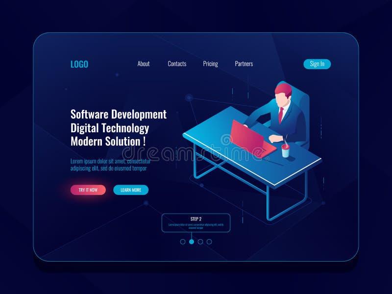 Isometrische Ikone der Programmierer- und Technikentwicklung, Mann, der an einem Tisch, Software developt, dunkler Neonvektor sit lizenzfreie abbildung