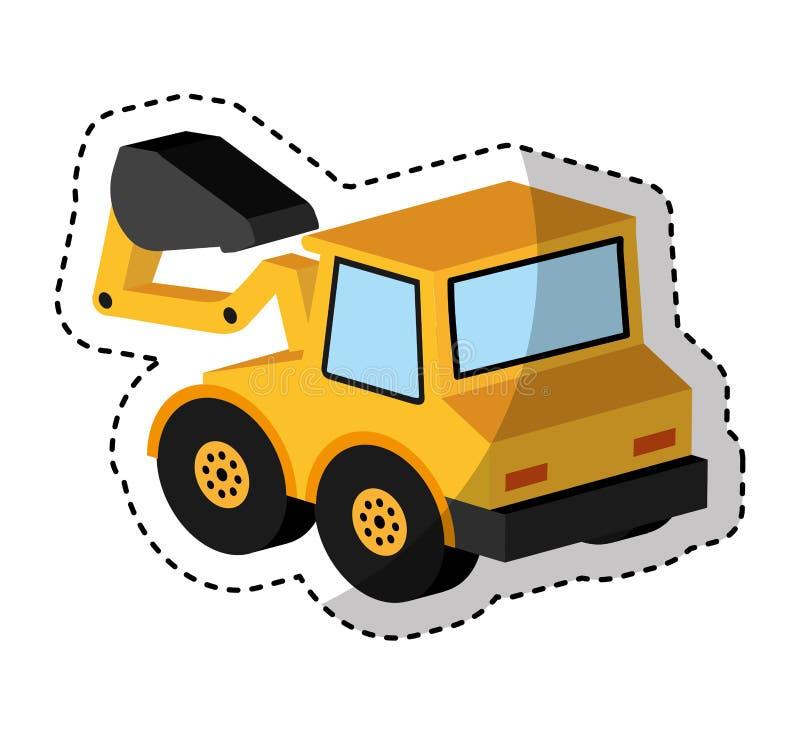 Isometrische Ikone des Baggerfahrzeugs lizenzfreie abbildung