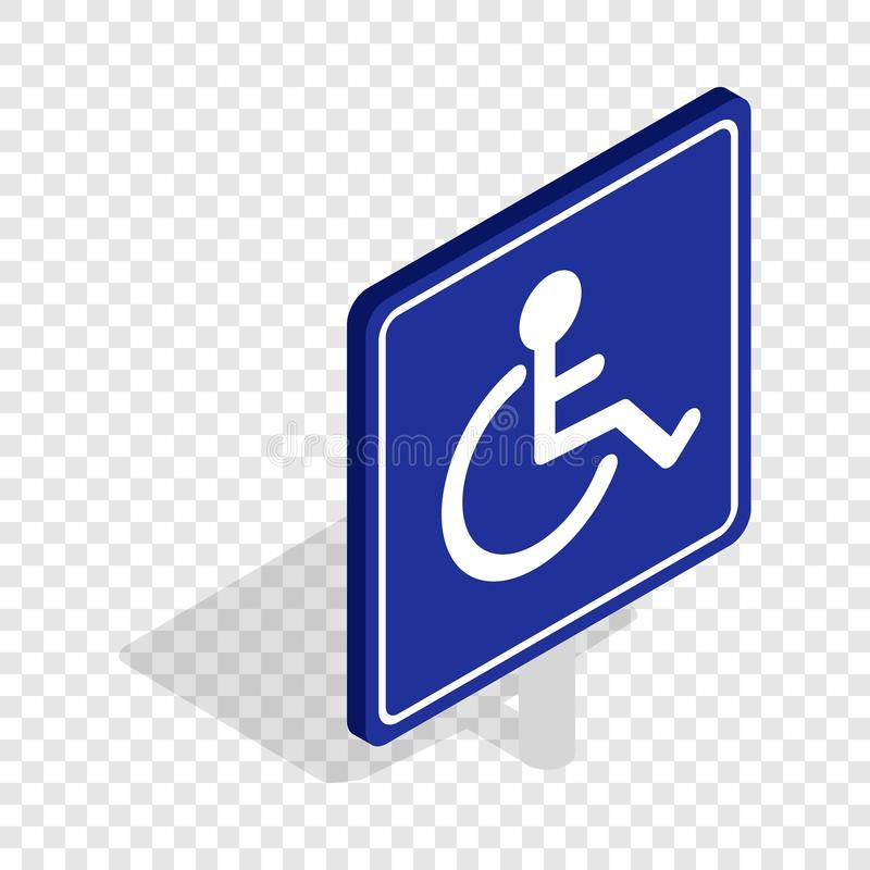 Isometrische Ikone des behinderten Handikaps stock abbildung