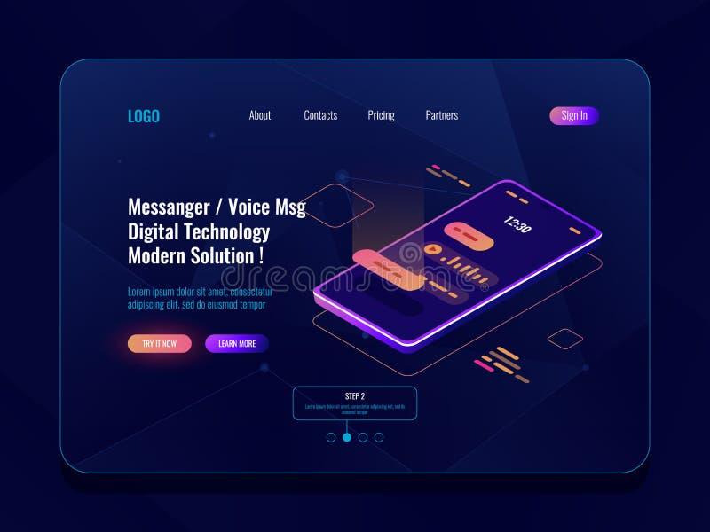 Isometrische Ikone des beweglichen Anwendungsbote-Konzeptes, Handy mit sms Dialog auf Schirm, chatbot, geschickt Sprachmitteilung stock abbildung