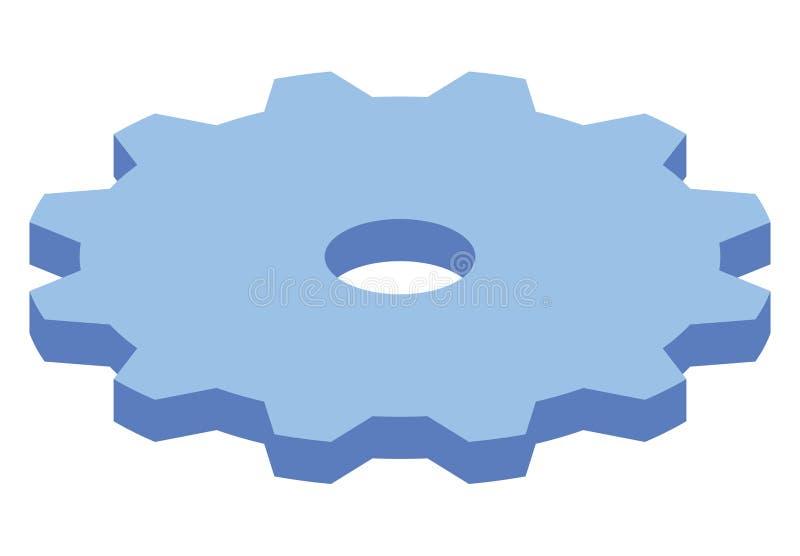 Isometrische Ikone des großen blauen Gangs Moderner Artkonzeptzahn drehen herein Vektorillustration Energie- und Geschäftsmechani vektor abbildung