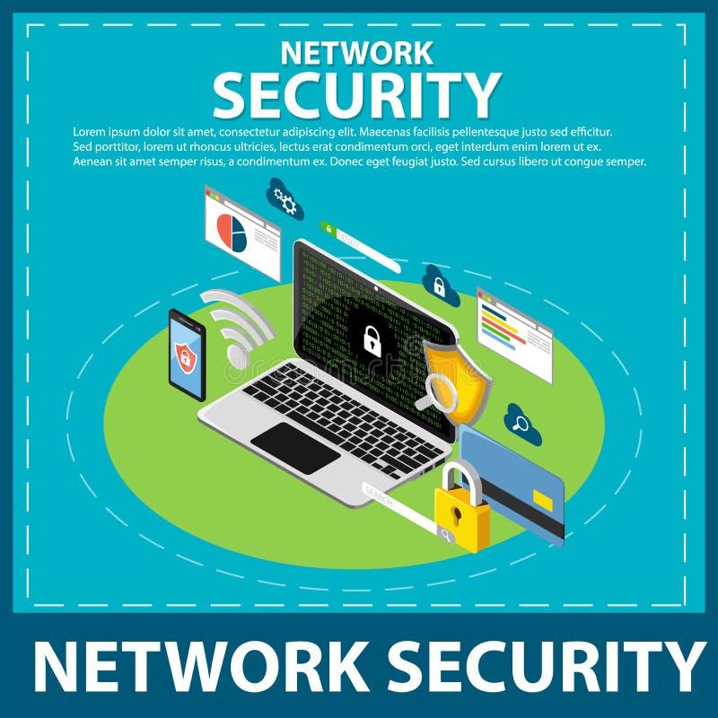 Isometrische Ikone des Internets und der Netzwerksicherheit lizenzfreie abbildung