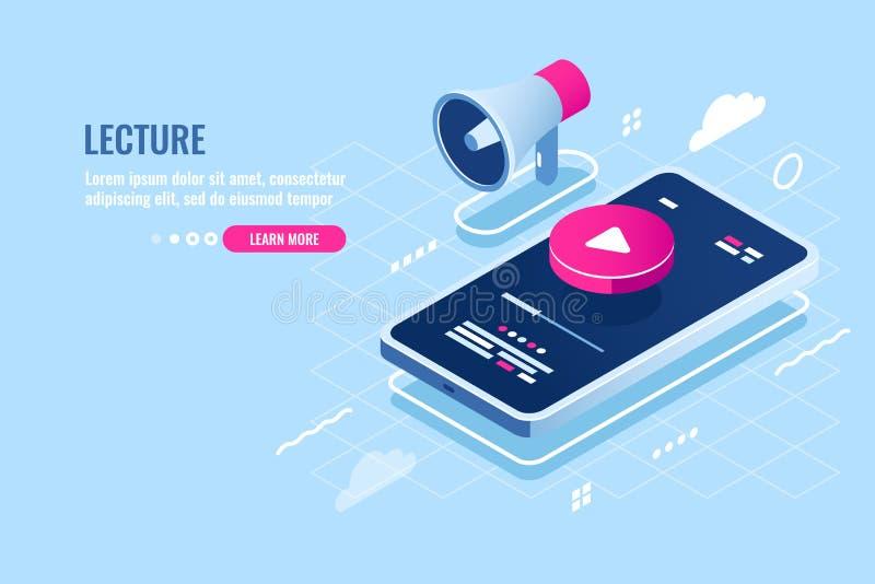 Isometrische Ikone des on-line-Vortrags, Internet-Kursuhr am Handy, Spielknopf auf Schirm von Smartphone, Musikspieler vektor abbildung
