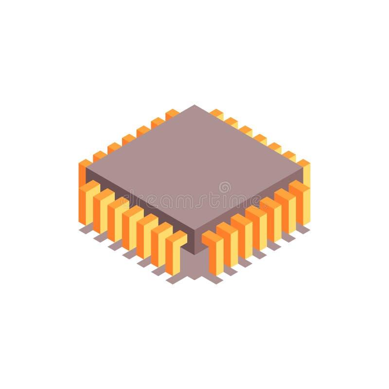 Isometrische Ikone des Mikrochips Ein Prozessor (Mikrochip) schielt das Erhalten und das Senden von Informationen zusammen lizenzfreie abbildung