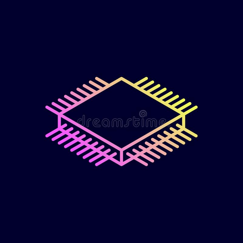 Isometrische Ikone des Mikrochips Ein Prozessor (Mikrochip) schielt das Erhalten und das Senden von Informationen zusammen stock abbildung