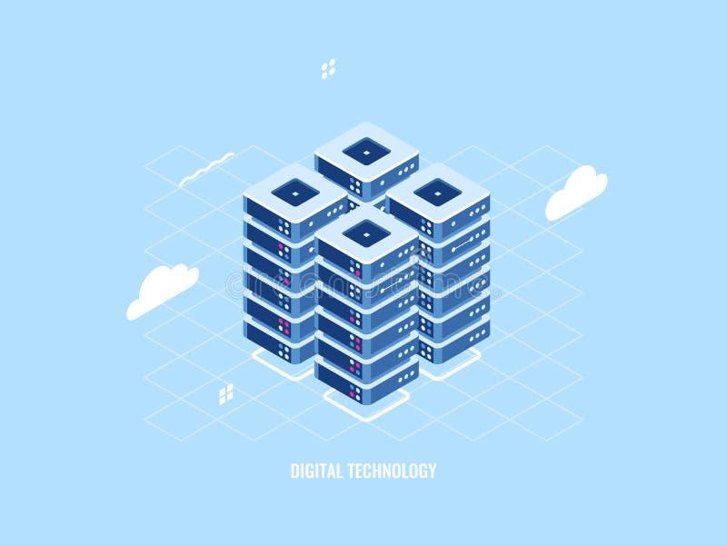 Isometrische Ikone des Serverraumgestells, der WolkenStorage Technology, des Rechenzentrums und der Datenbank, Datenverarbeitungs vektor abbildung