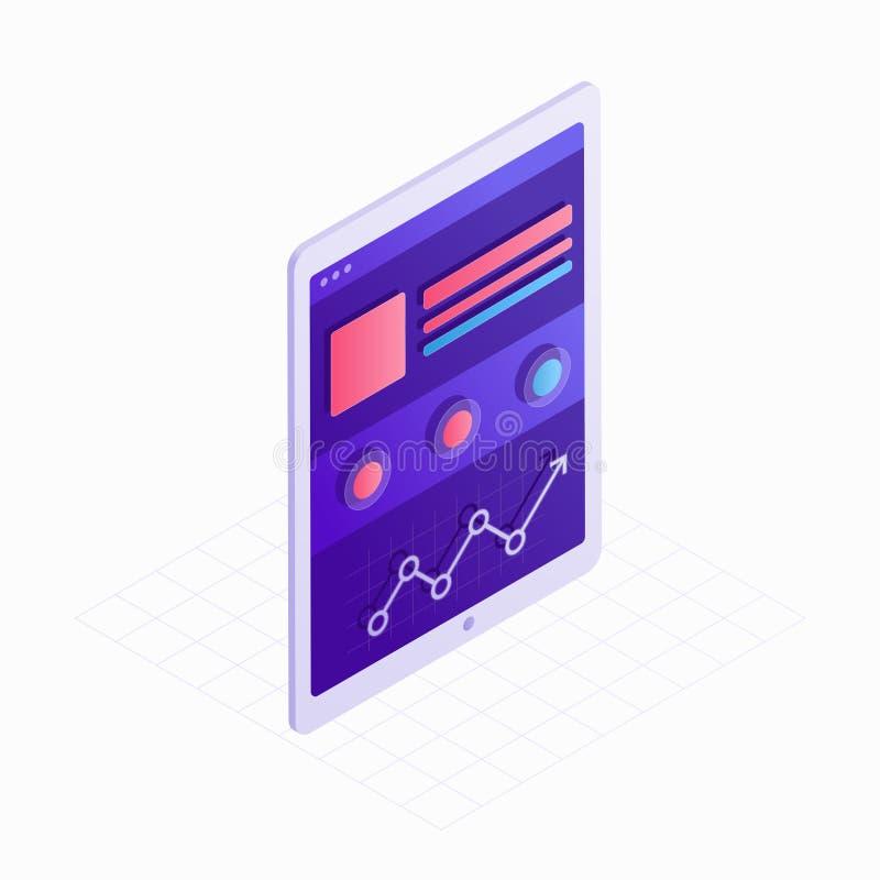 Isometrische Ikone des Tablets mit mit Berührungseingabe Bildschirm und Website 3D entwerfen Vektorillustration Konzept der Digit vektor abbildung