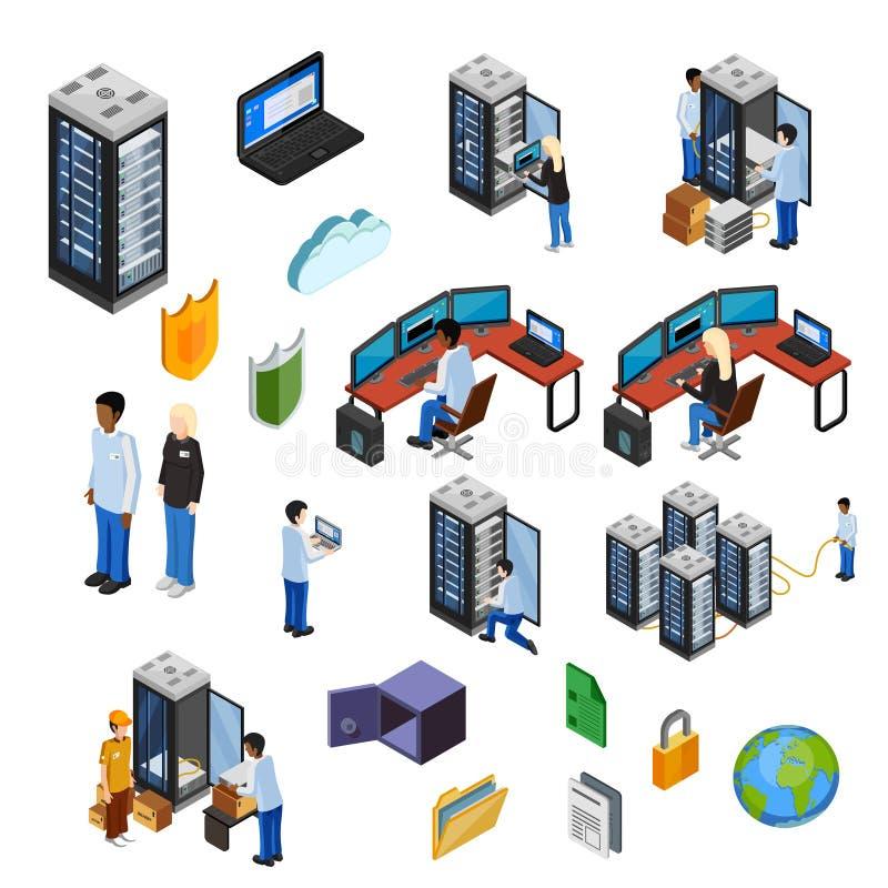 Isometrische Ikonen Datacenter eingestellt lizenzfreie abbildung