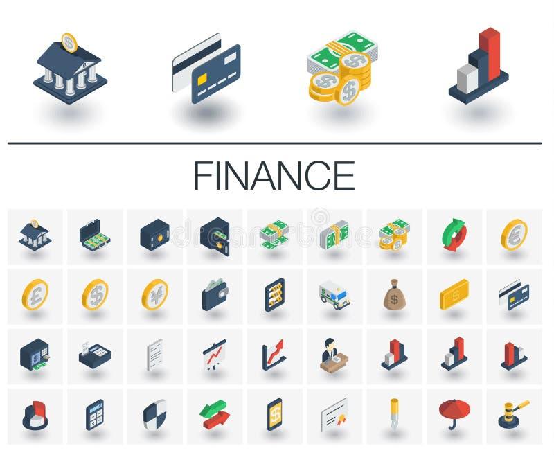 Isometrische Ikonen der Bank-und Finanzwesen Vektor 3d stock abbildung