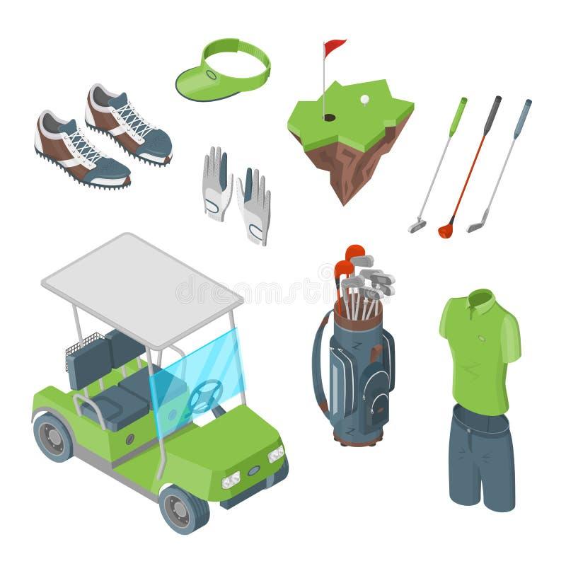 Isometrische Ikonen des Golfclubvektors 3d und Gestaltungselementsatz Flache Illustration des Golfmobils, des Balls, des Vereins, vektor abbildung