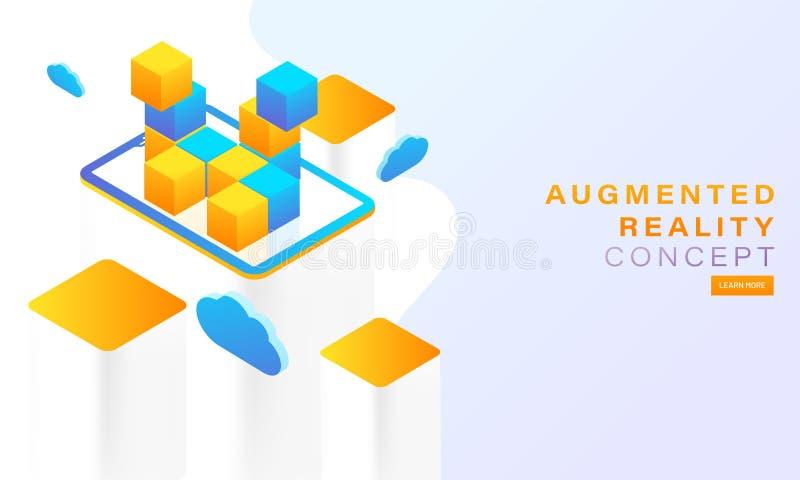 Isometrische illustratie van gele en blauwe kubus op smartphonescr royalty-vrije illustratie