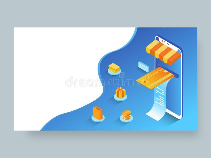 Isometrische illustratie van online betaling van smartphone met het winkelen elementen royalty-vrije illustratie