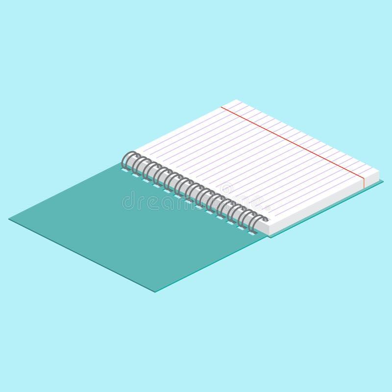 Isometrische Illustration auf einem blauen Hintergrund mit dem Bild des offenen gewundenen Notizbuches Auch im corel abgehobenen  vektor abbildung