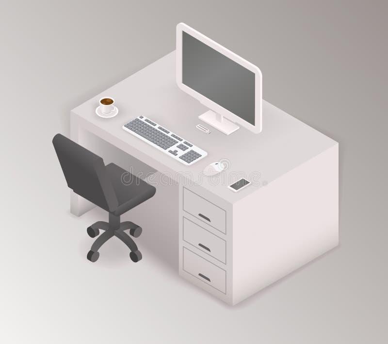 Isometrische Illustration 3d des Computertischarbeitsplatzes lizenzfreie abbildung