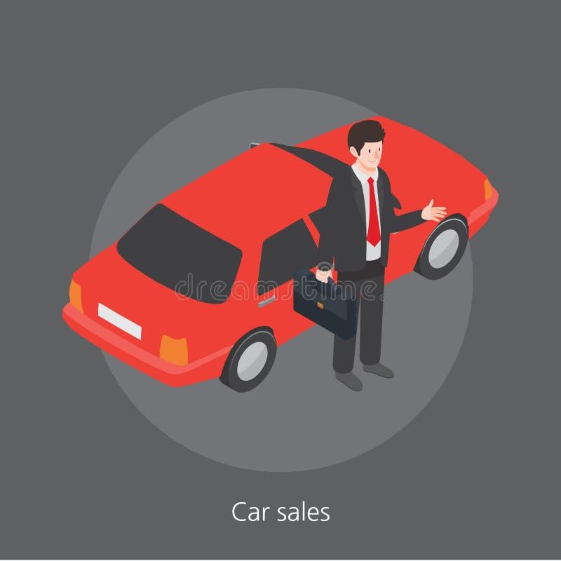 Isometrische Illustration des Autoverkaufs-Konzeptdesigns 3d lizenzfreie abbildung