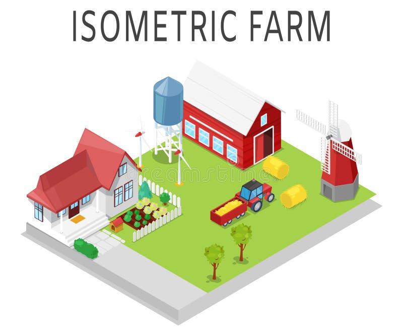 Isometrische Illustration des Bauernhofvektors Ländliche Landwirtschaft mit Traktor, Haus, Scheune, Windmühle und Lager Sun-Kraft stock abbildung