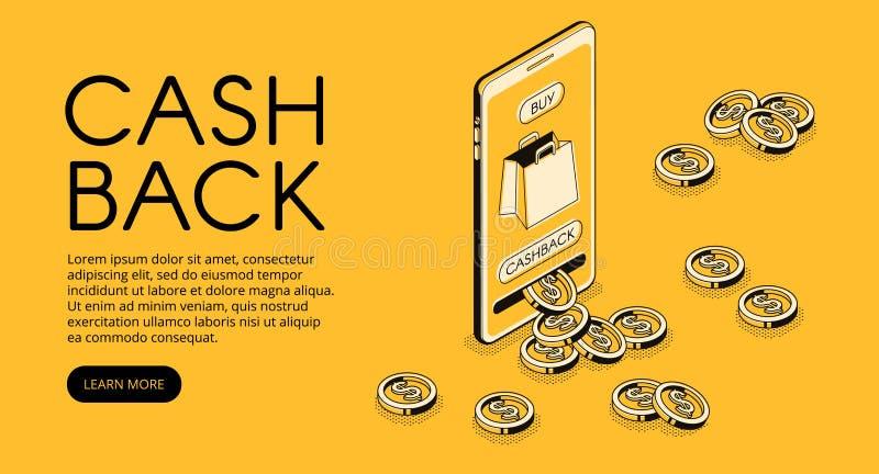Isometrische Illustration des Cashback-Einkaufsvektors lizenzfreie abbildung