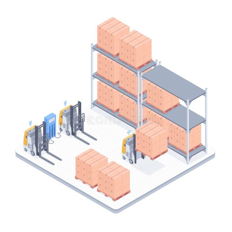 Isometrische Illustration des intelligenten Lagers stock abbildung