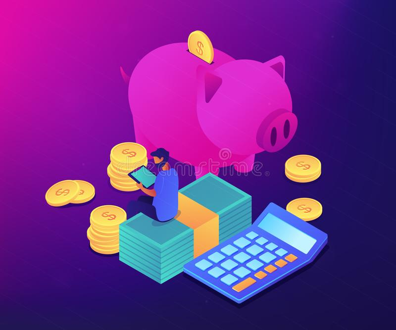Isometrische Illustration des Konzeptes 3D Haushaltskontrolle App lizenzfreie abbildung