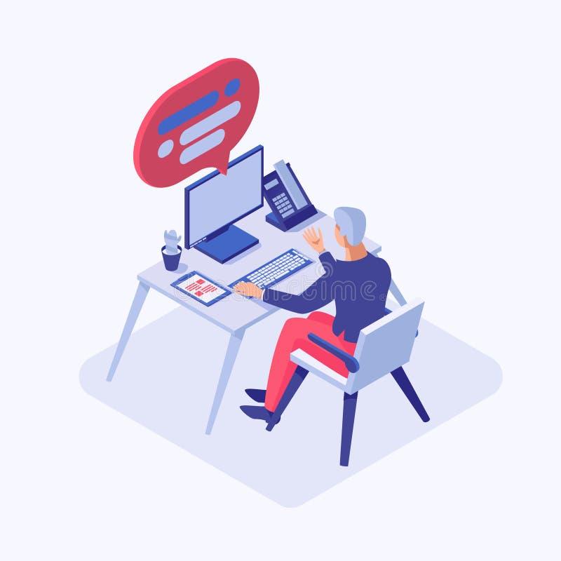 Isometrische Illustration des Kundenbetreuungs-Betreibers Männlicher Berater, Angestellter, Programmierer, Projektleiter, Büroang lizenzfreie abbildung