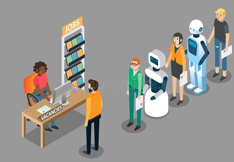 Isometrische Illustration des RoboterJobkonzept-Vektors lizenzfreie abbildung