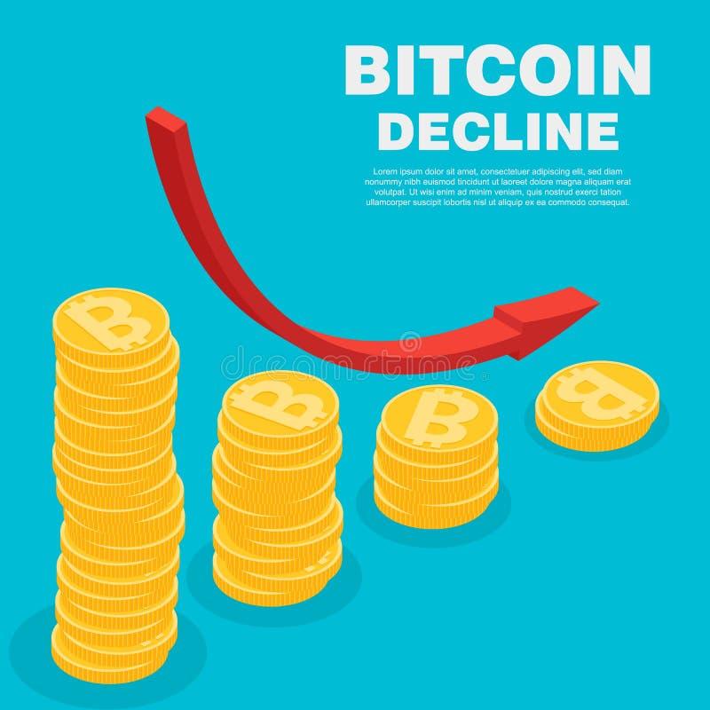 Isometrische Illustration des Vektors bitcoin digitalen cryptocurrency lizenzfreie abbildung