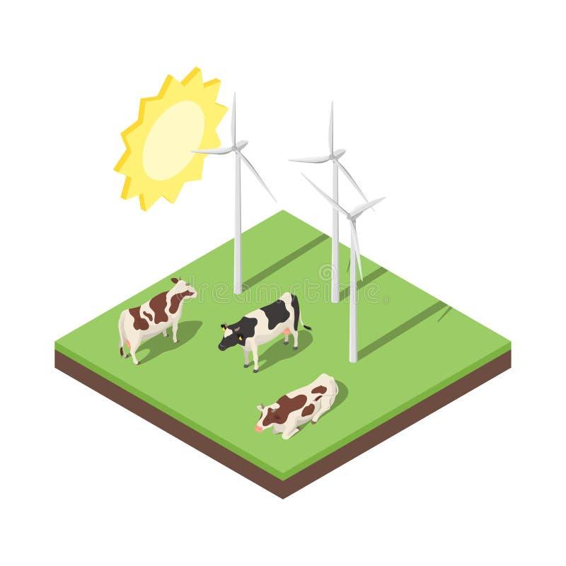 Isometrische Illustration des Vektors 3d der Windmühle und der Kühe lizenzfreie abbildung