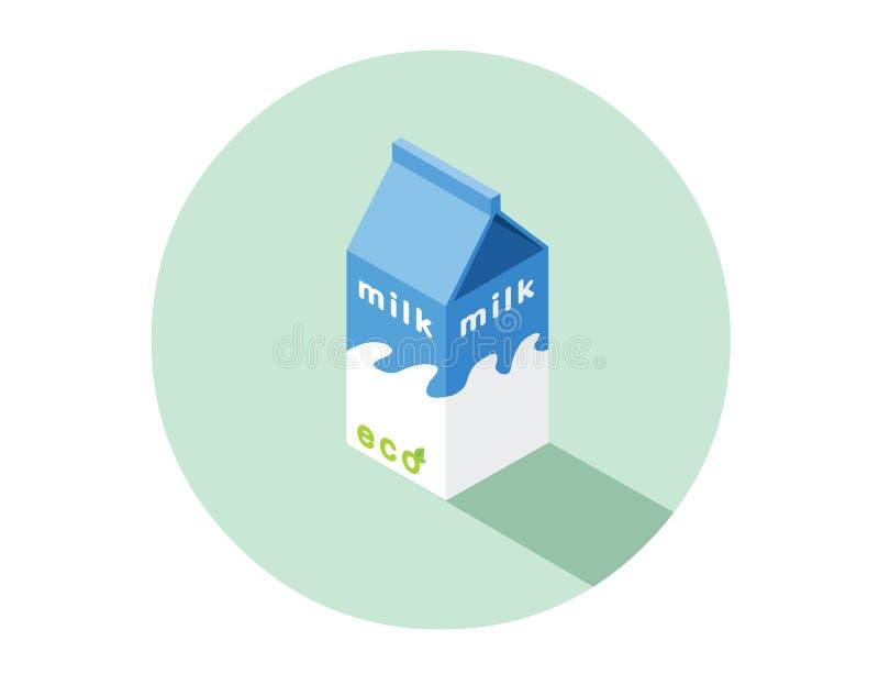 Isometrische Illustration des Vektors des eco Milchkastens vektor abbildung