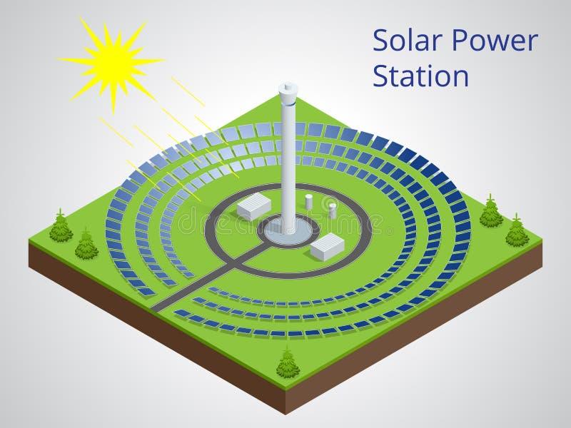 Isometrische Illustration des Vektors eines Sonnenkraftwerks Extraktion von Energie von den auswechselbaren Quellen Generation vo vektor abbildung