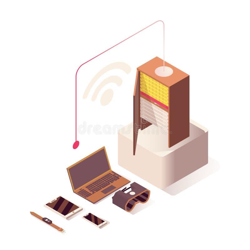Isometrische Illustration des Wifi-Internet-Vektors On-line-Bewirtung, Server, Computerhardwareausrüstung und IoT-Technologien vektor abbildung
